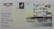 New Zealand 1987 Military History M/S Wigram Aeroplanes on Airmail Cover to GB