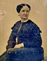 Massachusetts Tintype c.1860 ID'd Woman Lois White Sixth Plate Bon Ton Photo