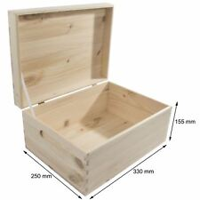 Wooden Storage Box 33x25x15cm Unpainted Pine Keepsake Memory Decoupage