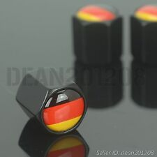 Flag of Germany BLACK auto wheel tyre 4 PCS tire air Valve Stems Cap stem caps