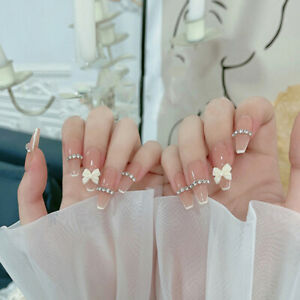 Luxury Rhinestones Fake Nails with 3D Bow French Long Coffin Wedding False Nails