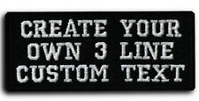 Custom Embroidered Your Text Name Tag PATCH Biker HOOK & LOOP / IRON ON / SEW ON