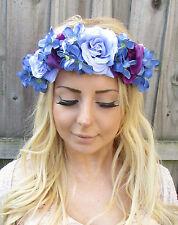 Blue Lilac Purple Hydrangea Rose Flower Garland Headband Hair Crown Floral 1877