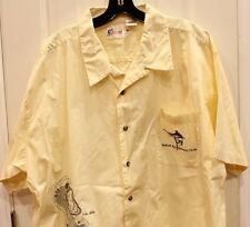 World Wide Sportsman Mens Shirt XL Golf Yellow Embroidered Palms Marlin Bay SS