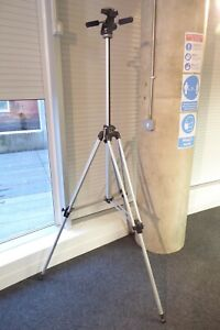 Large early MANFROTTO TRIPOD & 3-Way HEAD solid secure stable Large/Med Format