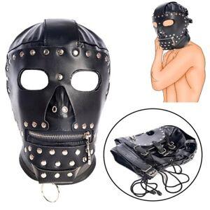 Adult unisex PU Leather Gimp Head Harness Headgear Hooded Mask Lockable lace up