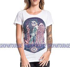 Secret Artist Sugar Angel SW313 Short Sleeve Graphic Tattoo White Top for Women