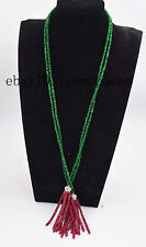 "red green jade roundel faceted 4*2mm necklace 32"" nature wholesale nature  beads"