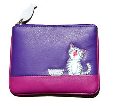 MALA Leather Cat Purse Purple Small Ladies Women's Coin Card Holder Purses