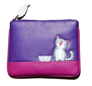 MALA Leather Cat Purse Purple Small Ladies Women's Coin Card Holder Purses