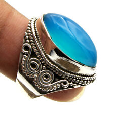 925 Sterling Silver Blue Chalcedony Gemstone Jewelry Handmade Ring Size US 6.5