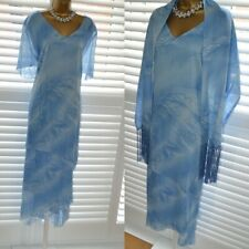 ~ PERSONAL CHOICE ~ Designer Blue Dress & Shawl Size 22 Mother of the Bride Suit