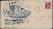 #220 1892 CORK FANCY CANCEL FULL FRONT ADVT COVER SWEEWATER MILL Co VF+ BS828