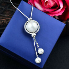 Charm Big Pearl Double Line Adjust Pendant Long Necklace For Women Grey/Silver