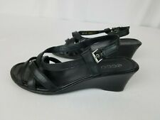 ECCO Black Leather Strappy Wedge Heel Open Toe Sandals Womens Size US 8.5 EU 39