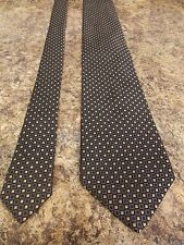 Daniel Cremieux Neck Tie Black Gold Geometric Hand Crafted 100% Silk
