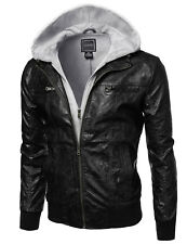 FashionOutfit Men's Refined Faux Leather Moto Jacket with Attached Fleece Hoodie