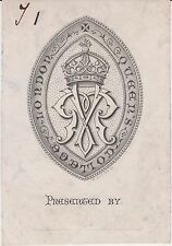 § Ex-libris (bookplate) QUEEN'S COLLEGE, LONDON - Angleterre, XIXème siècle §