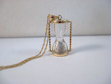 14K Yellow Gold Hourglass Pendant Charm Chain Necklace~ 18 Inch