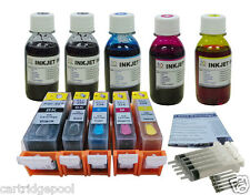 Canon PGI-225 CLI-226 Refillable Ink cartridge+ 5x4OZ refill ink pigment 225BK