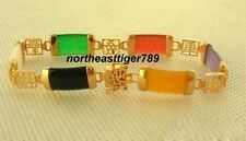 Multicolor Black White Red Green Yellow Purple Jade 18KGP Fortune Clasp Bracelet