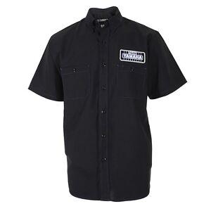 Mens Genuine Team Yamaha Contrast Button Shop Shirt Black Blue Logo Free Ship!