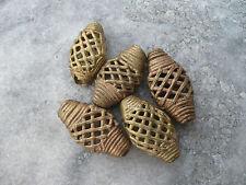 5 perlas de latón ghana ashanti 20 mm rombo estructura de rejilla