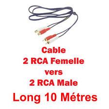 Câble 2 RCA Mâle vers 2 RCA Femelle  Fiches Surmoulées Dorées Longueur 10 Métres