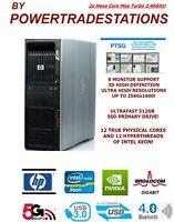 XFAST HP Z600 Workstation Trading Computer 8Mon 12CoreXeon 512SSD 4TBHDD 48GBRAM