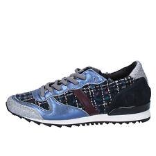 damen schuhe D.A.T.E. ( date ) 37 sneakers blau silber glitter textil BX59-37