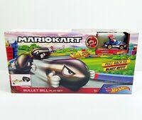 """HOT WHEELS Mariokart """" Bullet Bill """" Play Set + Mario Sneeker Diecast Car NEW"""