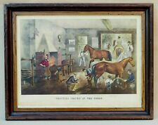 HORSES TROTTING CRACKS AT THE FORGE CURRIER IVES LITHOGRAPH HORSE RACING STABLES