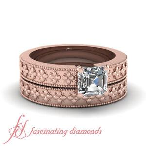 Solitaire Milgrain Floral Style Bridal Rings Set 3/4 Ct Asscher Cut Diamond GIA