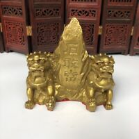 China Fengshui Decor Brass Foo Fu Dog Lion Leo Pair Shigandang exorcism Statue