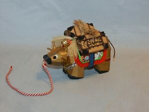 JAPANESE LUCKY GOLD WOOD OX KINBEKO TREASURE CHESTS  BELLS & HARNESS