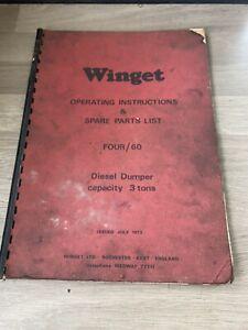 WINGET MODEL FOUR/60 3TON DIESEL DUMPER OPERATING & SPARE PARTS LIST CENTRE SEAT