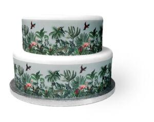 A4 Edible Decor Icing Sheet Palm Tree Tropical Jungle Ribbon Border Edge Cakes