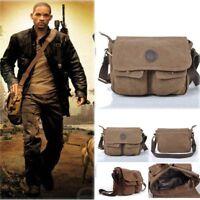 Men Boys Vintage Canvas Leather Satchel School Military Shoulder Messenger Bag