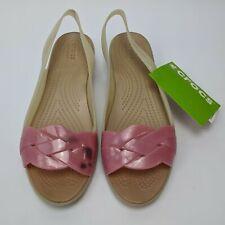 Crocs Isabella Slingback Sandals Women Size 8 Stucco/Peony 204774-16I NWOB