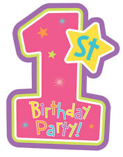 1st Birthday Girl Party Supplies - 1st Birthday Party Invitations (Pack of 8)