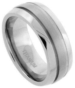 Titanium 8mm Comfort Fit Domed Wedding Band Ring Satin Stripe Center Sizes 7-14
