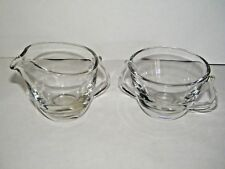 Vintage Hand Blown Clear Glass Creamer & Sugar Bowl EUC