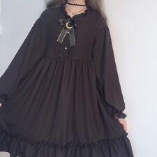 Japanese Girl Lolita Chiffon Dress Gothic Ruffles Puff Sleeve Cosplay Retro Cute