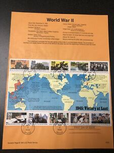 US 2981 WWII : Victory At Last First Day Of Issue 1995 Half Sheet Of 10 Stamps.