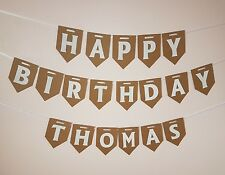 Personalised Happy Birthday Bunting Celebration Party Decoration Boy Girl Banner