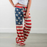 Women yoga lounge sport wide leg casual loose long pants USA flag style