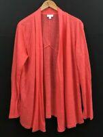 J Jill Love Linen Women's Open Front Cardigan Sweater Long Sleeve sz M Medium