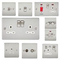 FP brushed chrome nickel steel flat plate slim socket switch toggle USB spur