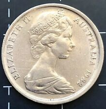 1982 AUSTRALIAN 5 CENT COIN - OFF CENTRE RIM WEAK DATE STRIKE ERROR