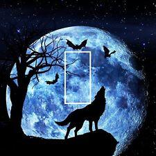 418 Interruptor De Luz Placa de piel cubierta de vinilo sticker habitación Aullidos Wolf Luna Estrellas Bat